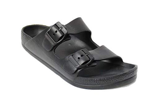 H2K Womens Comfort Slides Adjustable Double Buckle EVA Flat Slide Sandals (Black, 12)