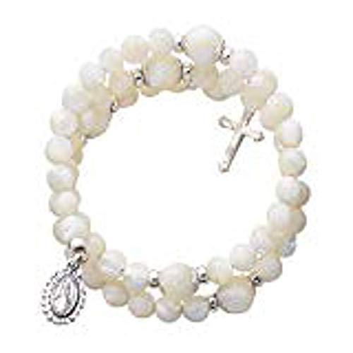 1home Pearl Wrap-Around 5 Decade Rosary Bracelet