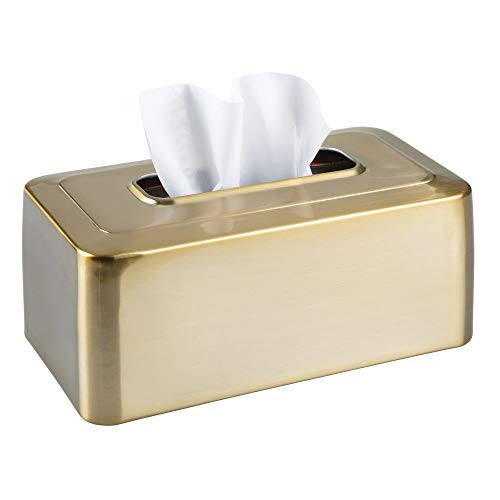 mDesign Modern Metal Tissue Box Cover for Disposable Paper Facial Tissues, Rectangular Holder for Storage on Bathroom Vanity, Countertop, Bedroom Dresser, Night Stand, Desk, Table - Soft Brass