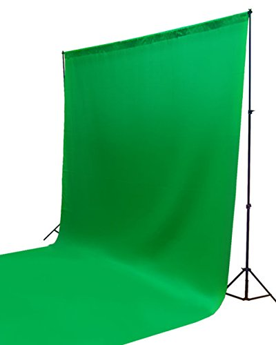 ePhotoinc Photography Photo Background Stand Backdrop Support System Kit + 10' x 10' Cotton Green Chroma Key Photo Studio Muslin Backdrop Background H41010G