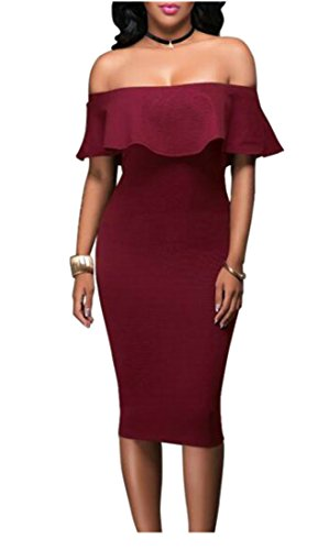 Nightclub Cromoncent Dress Sheath Pencil Sexy Shoulder Red Wine Womens Long Party Ruffles Off 1tB1vx