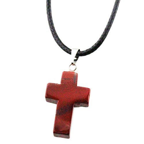 (FOY-MALL Natural Red Jasper Cross Pendant Necklace D1192M)