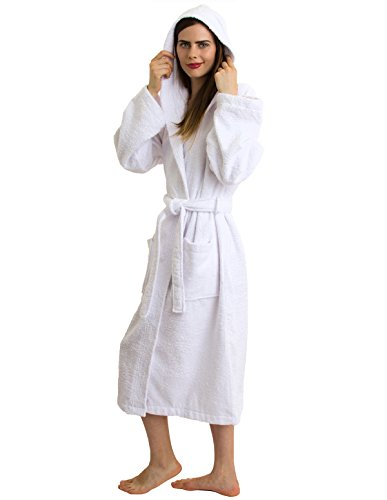 TowelSelections Hooded Bathrobe - 100% Turkish Cotton, Hooded Terry Cloth Robe for Women and Men, Made in Turkey (White, (Cotton Hooded Robe)