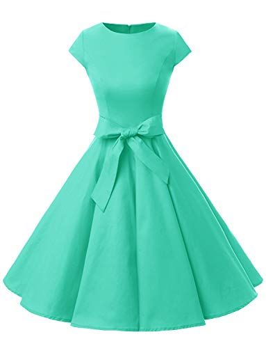 Dressystar DS1956 Vintage 1950s Retro Rockabilly Prom Dresses Cap-Sleeve XXL Tiffany ()