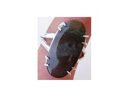 (Surbhi Crafts Royal Imperial Jasper Ring Silver Plated Ring Handmade Designer Ring Jewelry (Ring Size 7.75 USA) AH-14434)