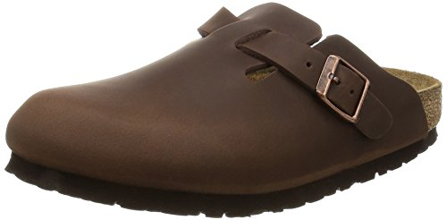 Birkenstock Men's Boston Oiled Leather Slip On Sandals, Brown, 9 US (Birkenstock Clog Sandal)
