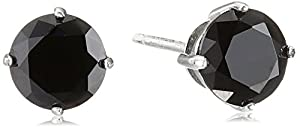 925 Sterling Silver 6mm Black AAA Cubic Zirconia Stud Earrings (1.6 cttw)