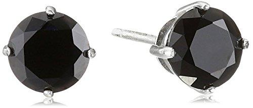 925 Sterling Silver 6mm Black AAA Cubic Zirconia Stud Earrings (1.6 cttw)
