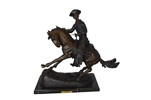 (Remington Cowboy on Marble Bronze Statue - Size: 24