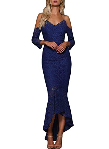 Arainlo Women's Elegant 3/4 Off Shoulder Sleeve Formal Homecoming Maxi Dresses Sexy High Low Bridesmaid Cocktail Mermaid Party Eveing Dresses Blue S