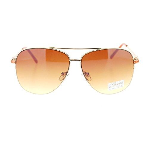 Giselle Womens Luxury Ocean Color Half Rimless Aviator Sunglasses - Aviator Sunglasses Giselle
