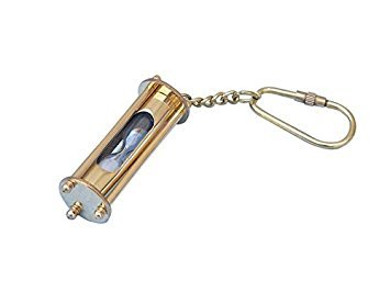 Nautical Solid Brass SAND TIMER Key Chain from Brass Blessing