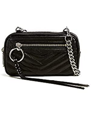 Women's Chevron Double Zip Crossbody Bag