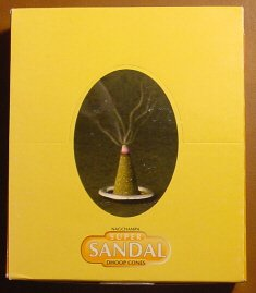(Super Sandal Cones - Box of 12 Packages (144 Cones Total) - Satya Sai Baba Incense)