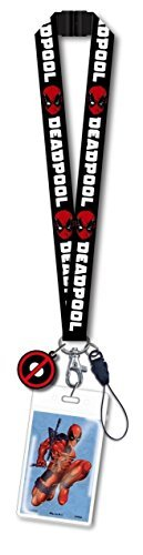 Marvel Comics Deadpool Black Lanyard Key Chain ID Badge Holder W Screen Cleaner Charm
