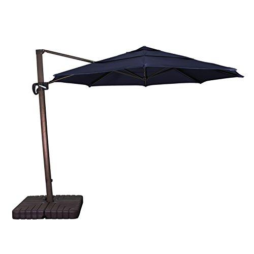 California Umbrella 11' Round Aluminum Cantilever Umbrella, Crank Lift, Slide Tilt, 360 Rotation, Bronze Pole, Sunbrella Navy from California Umbrella