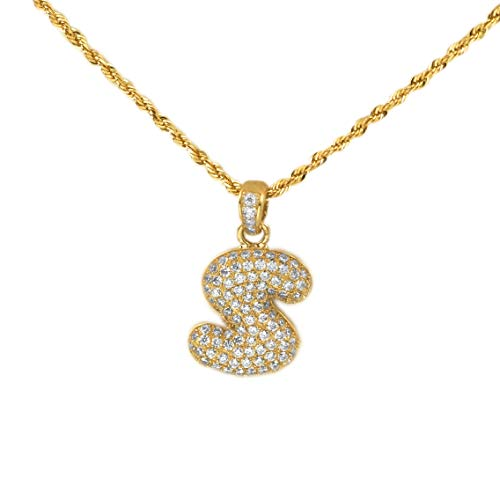 MR. BLING 10k Yellow Gold Alphabet Initial Bubble Letter Charm Pendant (S: 0.87