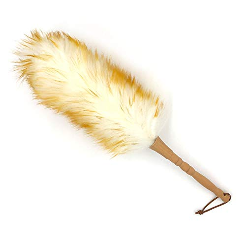 - J&A Lambs Wool Duster with Solid Wooden Handle,Flexible Head,Leather Hang Strap,18.9 inchs Long,Comfortable Grip Natural Feather Duster for Cleaning Screen,Funiture,Ceiling Fans,Blinds etc(Pack of 1)