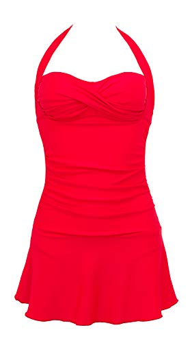 (Lorasea Bathing Suits for Women Halter Bandeau One Piece Swimsuit Ruched Skirted Swimdress(Red,XXL))