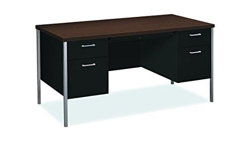 Hon Company Black Pedestal Desk - HON 34962MOP Double Pedestal Desk, 60