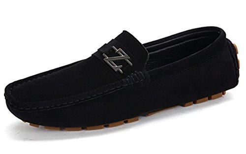 Tda Mens Avslappnade Halka På Läderaffärsdriv Loafers Båt Skor Svarta