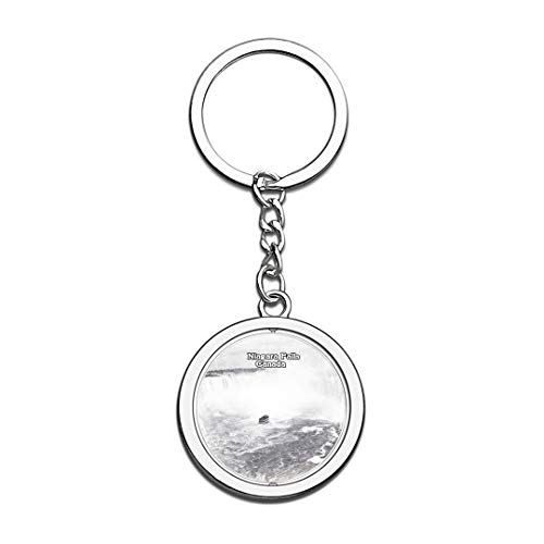 Canada Niagara Falls Sketch Keychain 3D Crystal Spinning Round Stainless Steel Keychains Travel City Souvenirs Key Chain Ring