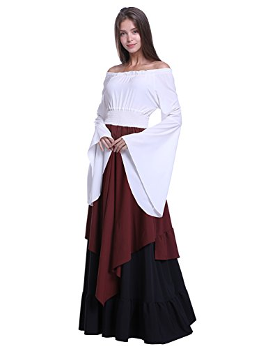 Fancyqube Women's Medieval Renaissance Costume Retro Floor Length Off Shoulder Gown Dresses White M