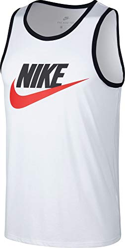 Nike Mens Ace Logo Tank Top White/Black/University Red 779234-102 Size Medium