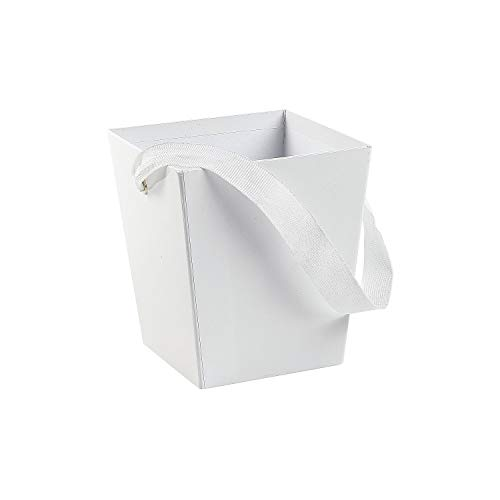 Fun Express - White Cardboard Bucket W/ribbon Handle for Wedding - Party Supplies - Containers & Boxes - Paper Boxes - Wedding - 6 Pieces ()