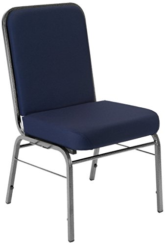 - OFM Core Collection Comfort Class Series Fabric Stack Chair with Silver Vein Frame, in Navy (300-SV-804)
