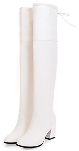 Idifu Mujeres Dressy Pull On Mid Block Talón Puntiagudo Sobre La Rodilla Botas Altas Blancas