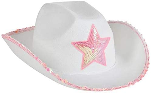 Rhode Island Novelty White Felt Cowgirl Hat with Pink Star,...