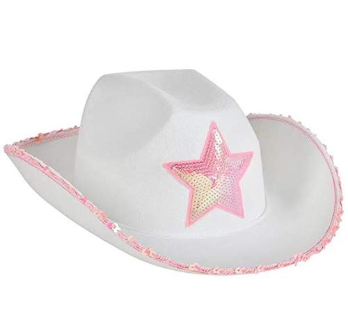Rhode Island Novelty White Felt Cowgirl Hat with Pink Star | One Hat - Western Cowboy Plastic Vest