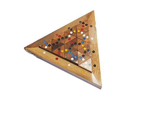 Portable Wooden Color Match Triangle Puzzle Game