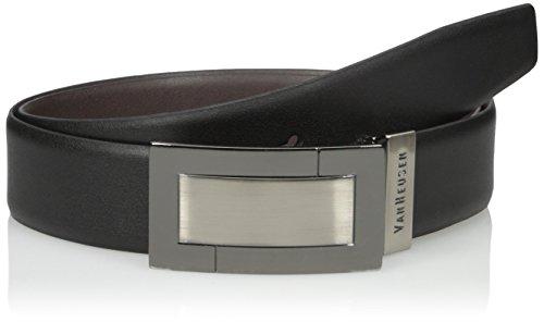 Van Heusen Men's Men's Plaque Reversible Leather Belt, black/Brown, 44 (Mens Leather Vans Belt)