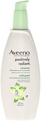 Aveeno face cleanser, positively radiant daily brightening face wash for dark spots, 200ml