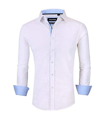 (Casual King Mens Dress Shirts Wrinkle-Free Long Sleeve Slim Fit Button Down Formal Shirt (White,XLarge))