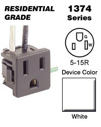 Leviton 1374-1W Snap-In Panel Mount Receptacle Commercial Gr