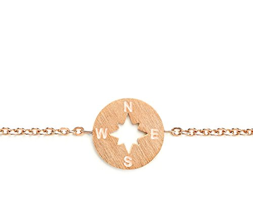 Rosa Vila Compass Bracelet - Direction of Life & I'd Be Lost Without You, Compass Jewelry, Woman's Friendship Bracelets for Best Friends (Rose Gold Tone) -