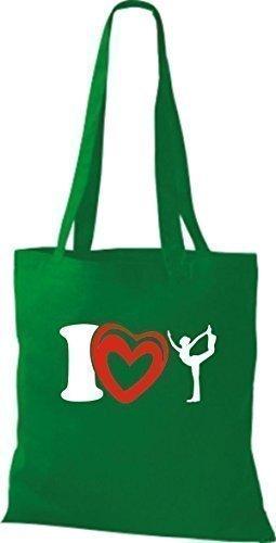 ShirtInStyle La bolsa de asas Bolsa de algodón I Love Yogo Yoga Sport Gimnástico - fucsia kelly