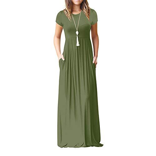 n O Neck Casual Pockets Short Sleeve Floor Length Dress Loose Party Dress ()