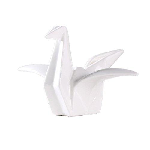 Baoblaze Creative Ceramic Origami Crane Figurine Statue Kid's Birthday Decor Gifts - White, M ()