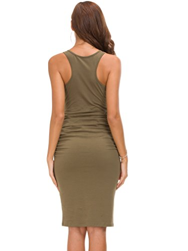 - Missufe Women's Ruched Bodycon Sundress Midi Fitted Casual Dress (Army Green-01, Small)