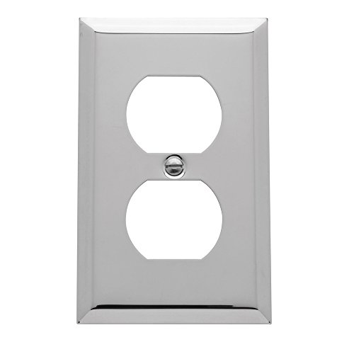 Baldwin Duplex Switchplate - Baldwin Estate 4752.260.CD Square Beveled Edge Duplex Wall Plate in Polsihed Chrome, 4.5