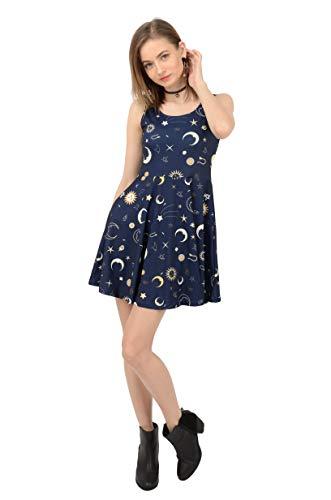 CowCow A Fun Night Sky The Moon and Stars Skater Dress, Dark Blue-XS