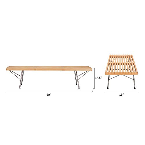 Poly and Bark EM-380-CRM-NAT Slat 5' Bench with Chrome Legs, Natural by Poly and Bark (Image #5)