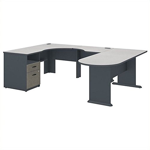 Series A U Shaped Corner Desk with Peninsula and Storage (Series U-shape Computer)