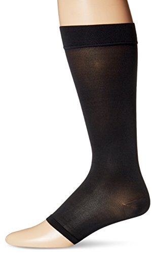 Dr. Scholl's Men's Unisex Open Toe Surgical Weight Microfiber Firm Support Socks,  Black, women's shoe size 9-11.5, men's shoe size 7.5-10 (Medium)