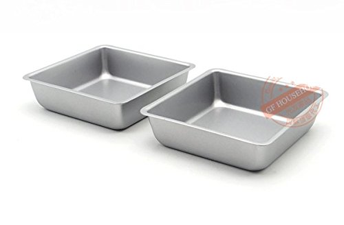 Astra Gourmet Mini 4-Inch Non-Stick Square Cake Pan, Set of 4(Silver)