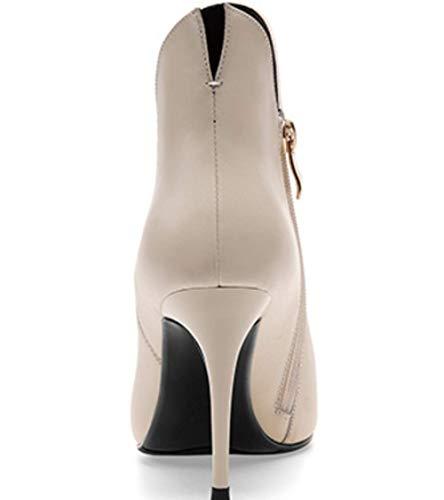 Cuir Femmes Aiguilles Nues Chaussures Talons À Bottes Véritable Beige En Pour Bottillons Shiney 1TFzRqU